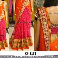 pink combination lovely orange pink combination designer saree with blouse at rs