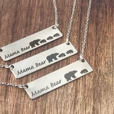 mama bear necklace with up to 7 cubs gift for wife for girlfriend