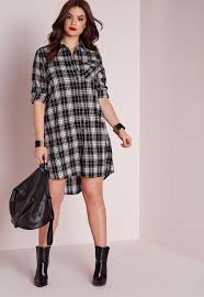 plus size checked shirt dress black missguided
