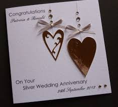about handmade personalised silver 25th wedding anniversary card