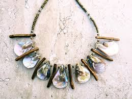 shell necklace images Gold cream long sea shell necklace brown coral hematite necklace JPG