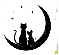 cat and mouse sitting on the moon stock vector