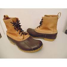 s bean boots size 9 bean s duck boots 747502 leather brown rubber 6 shaft