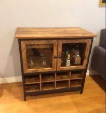 Metal Bar Cabinet Antiqued Rustic Wine Bar Cabinet 16 Bottle Storage Glass Doors