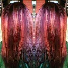 red violet base with caramel highlights hair color pinterest