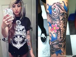 allison green koi fish forearm tattoo steal her style