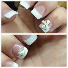 acrylic nails with white tips nail jewel bow and pearl n