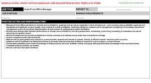 Front Desk Hotel Responsibilities Hotel Front Office Manager Job Description