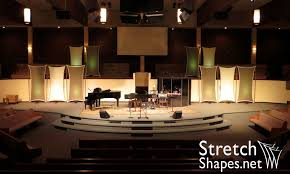 Church Backdrops Multiple Stretch Fabric Flat Panel Sails Hung As Stage Backdrop