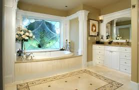 bathroom traditional bathroom with glass mosaic wall near curve