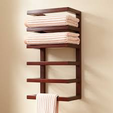 bathroom wooden hotel towel rack in brown for bathroom deoration