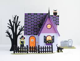 Black Cat Halloween Crafts Halloween Haunted House Kit Paper Dollhouse Printable