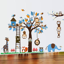 compare prices on tree wall vinyls online shopping buy low price owl monkey squirrel giraffe tree tree wall stickers nursery children s room cartoon removable mural vinyl art