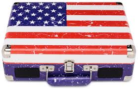 American Flag Design Portable Suitcase Style Turntable Usa Flag Design 3 Speed