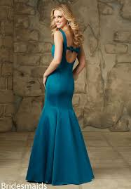 glamorous square neckline pool blue satin long mermaid bridesmaid