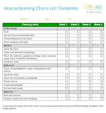 Bathroom Cleaning Checklist Template Chores List Template 28 Images House Cleaning Chore List