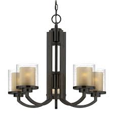 vintage look modern hanging chandelier with bronze stand and glass