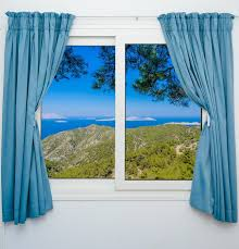 nature landscape with a view through a window with curtains wall