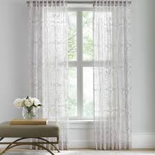 108 Inch Black And White Curtains Barbara Barry Sheer Tracery Rod Pocket Window Curtain Panel Rod
