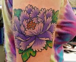 violet peony flower tattoo on upper arm tattoos photos