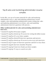 resume examples sales top8salesandmarketingadministratorresumesamples 150516152434 lva1 app6891 thumbnail 4 jpg cb 1431789919