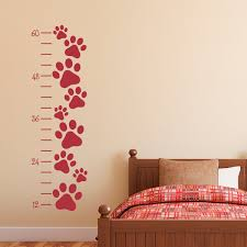 paw print growth chart wall decal growth chart dog pawprint