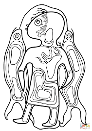 boy with fish by norval morrisseau coloring page free printable