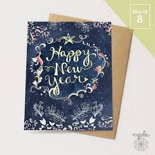 happy new year paper cards starry happy new year box of 8 greeting cards happy new year