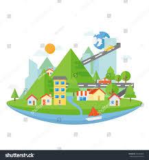 small town flat design landscape flat stock vector 270343466