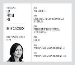 Sample Resume Of Sales Lady by How Beth Comstock Is Lighting Up Ge