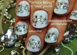 easy white nails covered in bling short nail art for beginners