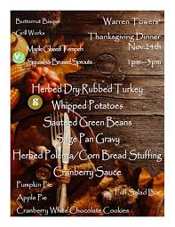 thanksgiving dinner menu dining services archive boston