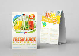 fresh juice table tent template by owpictures graphicriver