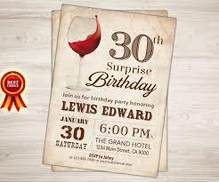 wine birthday invitation surprise 30th birthday wine