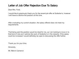 best solutions of sample job offer rejection letter due to salary