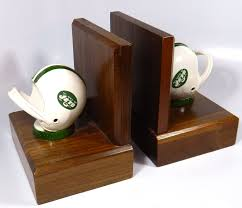 Unique Bookends Lot Detail Unique New York Jets Wooden Bookends Made With Cast