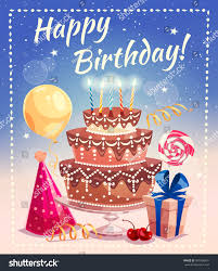 happy birthday greeting card big cake stock vector 541608631