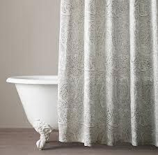 Restoration Hardware Shower Curtains Designs Distressed Scroll Linen Shower Curtain
