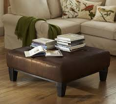 Square Brown Leather Ottoman Sullivan Leather Square Ottoman Pottery Barn