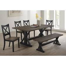 lexington dining bench in black and rustic oak nebraska
