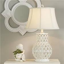 white metal linked table lamp