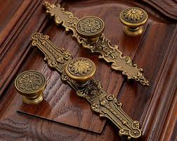 Kitchen Cabinet Hardware With Backplates Ornate Furniture Etsy