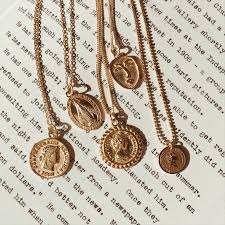 womens gold pendant necklace images Gold round pendant necklace ashley summer co jpg