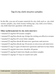 receiving clerk resume sample top8cityclerkresumesamples 150404032153 conversion gate01 thumbnail 4 jpg cb 1428135756
