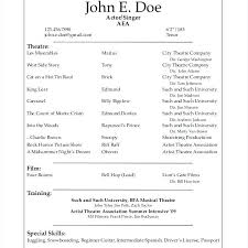 theater resume template musical theatre resume template free theater resume
