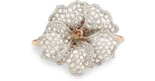 diamond flower bracelet images Lyst nina runsdorf white and cognac diamond flower cuff bracelet jpeg