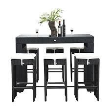 Amazoncom Outsunny Pc Rattan Wicker Bar Stool Dining Table Set - Dining table for bar stools