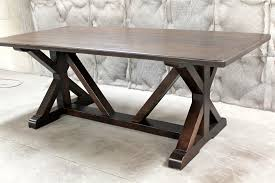 trestle base dining table restoration hardware inspired x base trestle table ecustomfinishes
