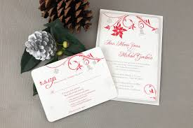 christmas wedding invitations poinsettias and silver bells 5 7 wedding invitation