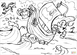 pirate ship ran into a reef coloring page free printable